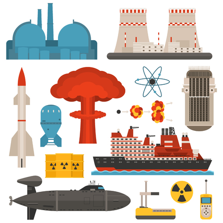atomic symbol: Fossil-fuel power and renewable energy generating electricity nuclear energy vector illustration. Atomic technology industry electric nuclear energy. Nuclear energy turbine pollution industrial sign.
