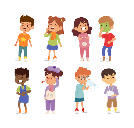 Children sick sickness disease little kids characters set. Flu problem health stick sick children figure pictogram icons. Sad influenza sick children little people hospital resting childcare. Vectores