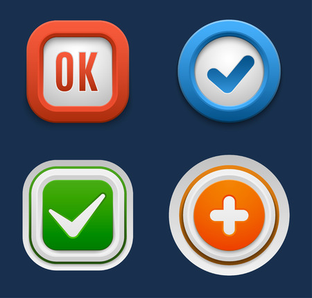 yes no: Set of interface buttons ok, cancel, yes, no. Vector internet web buttons set. Website accept web ui ux buttons iconsconcept. Web elements Illustration