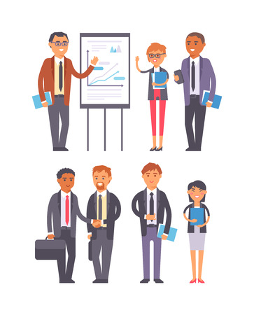 happy office: Business people isolated on white. Corporate teamwork happy office success business people. Professional work person business people successful meeting businessman vector character.