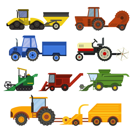 plowing: Set of different types of agricultural vehicles and harvester machine, combines and excavators. Icon set agricultural harvester machine with accessories for plowing, mowing, planting and harvesting. Illustration