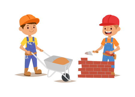 fun at work: Builders kids builder with tools. Vector character builder kid, cute child construction. Little person work equipment. Fun young profession. Illustration