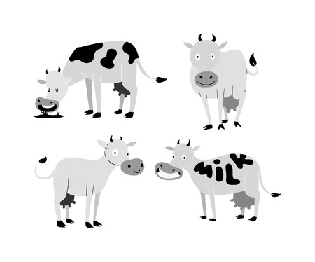 子牛雄牛バッファローのミルク牛牛。別の牛は、国内家畜酪農牛、自然色します。さまざまなポーズのベクトルの異なるかわいい素敵な牝の仔ウシの漫画牛のアクション セット。