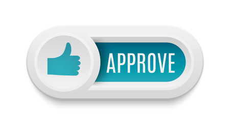 like button: Ok like button, yes symbol. Vector internet check like button positive. Website accept like button success approved tick concept. Correct shiny sign.