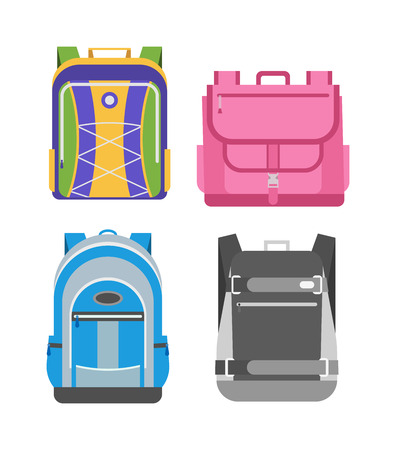 school bags: Kids school bags isolated on white background. Cartoon style school bags handle strap sack, textile rucksack. School bags children equipment. School supplies educational full schoolbag adventure. Illustration