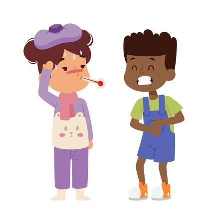 Kinder krank Krankheit Krankheit kleine Kinder Zeichen gesetzt. Grippe Problem Gesundheit Stick kranke Kinder Abbildung Piktogramm-Icons. Sad Grippe kranke Kinder wenig Menschen Krankenhaus Ruhekinderbetreuung.