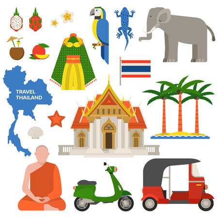 thailand culture: Travel concept thailand landmark flat icons design vector illustration. Bangkok culture thailand travel world architecture. Asian holiday landscape map thailand travel concept journey icon.