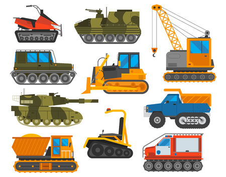 earth mover: Tracked excavator vector illustration isolated on white background. Construction industry machinery caterpillar equipment tractor. Bulldozer vehicle transportation caterpillar equipment tractor.