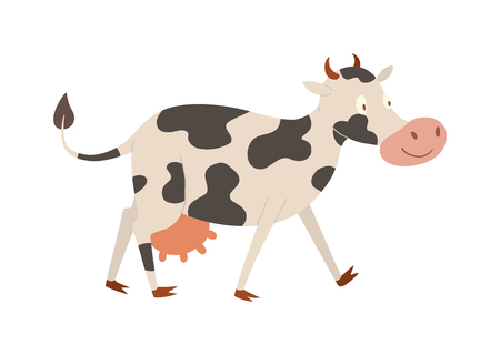 heifer: Milk cow bull buffalo cartoon character. Cartoon cow color dairy farm beef, nature domestic farm animal. Cartoon cow action, with cute heifer different in pose vector.