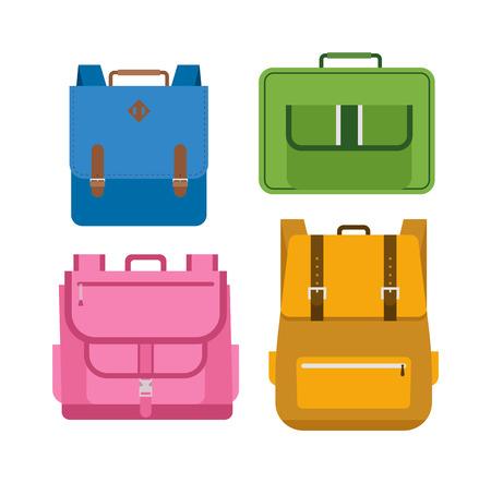 schoolbag: Kids school bags isolated on white background. Cartoon style school bags handle strap sack, textile rucksack. School bags children equipment. School supplies educational full schoolbag adventure. Illustration