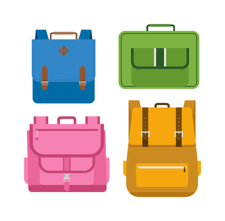 Kids school bags isolated on white background. Cartoon style school bags handle strap sack, textile rucksack. School bags children equipment. School supplies educational full schoolbag adventure. Illustration