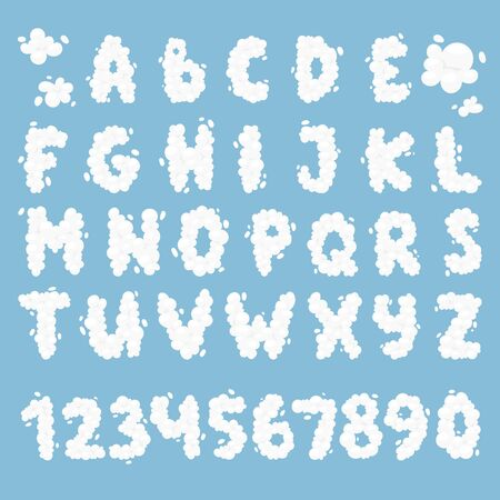 typesetter: English alphabet from clouds on blue sky background. Cloud alphabet decoration number typeface symbol blue sky vector. Weather text heaven design cloud alphabet letter typeset alphabet.