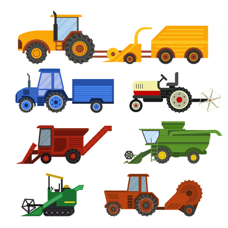 combines: Set of different types of agricultural vehicles and harvester machine, combines and excavators. Icon set agricultural harvester machine with accessories for plowing, mowing, planting and harvesting. Illustration