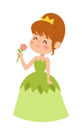 fashion story: Cute beautiful princess vector character girl. Adorable elegance style princess little girl. Princess fashion fairytale costume, magic fantasy cute dress crown girl. Young adult kid