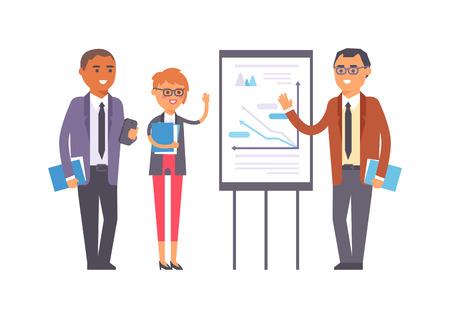 reunion de trabajo: La gente de negocios aislados en blanco. trabajo en equipo de oficina corporativa feliz la gente de negocios de éxito. la gente de negocios persona trabajo profesional exitoso hombre de negocios reunión de carácter vectorial.