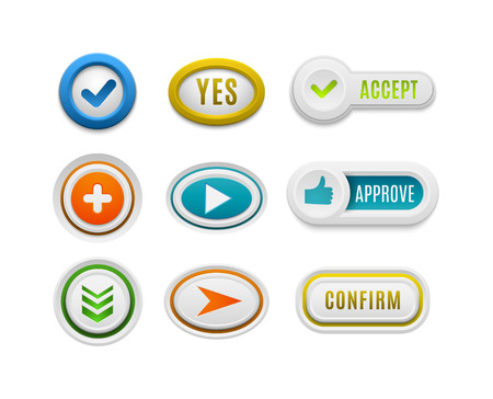 interface buttons: Set of interface buttons ok, cancel, yes, no. Vector internet check ok button positive set. Website accept ok button success red mark approved tick concept. Correct shiny sign.