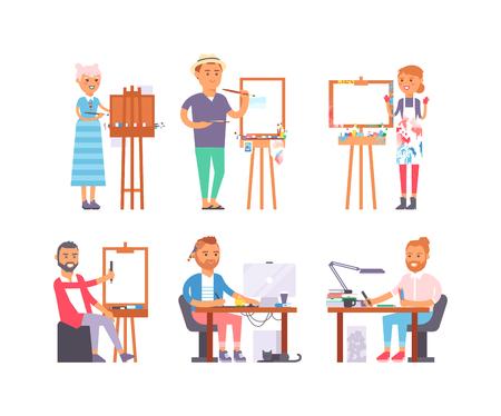 portrait young girl studio: Young artist creative people in studio during pain work. Portrait drawing artist creative people vector. Colorful adult painter artist designer creative people with paintbrush.