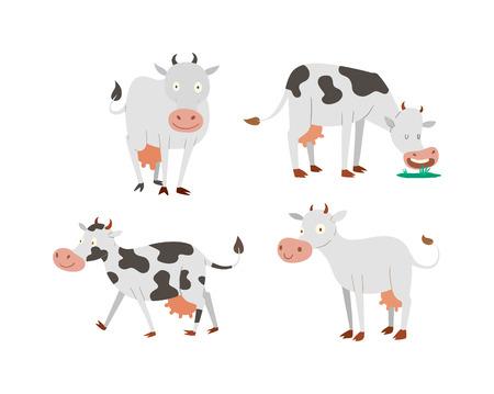 Milchkuh Stier Mit Kalb Stier Büffel. Verschiedene Kühe Farben ...