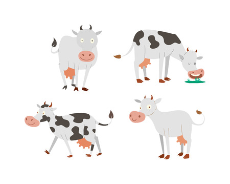 Milk cow bull with calf bull buffalo. Different cows colors dairy farm beef, nature domestic farm animals. Cartoon cows action set, with cute lovely heifer different in different poses vector. Illustration