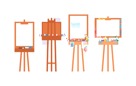 easel: Easel art board vector isolated. Art board for some artist with paint brush and palette. Artist painting board isolated on white. Easel canvas artboard