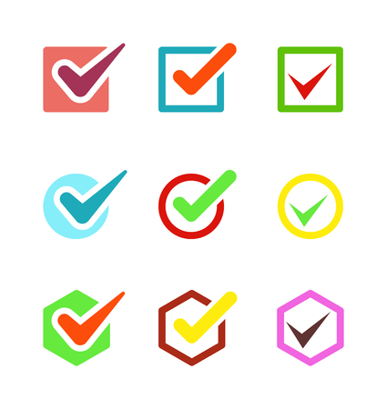 right choice: Check box vector icon button isolated. Check vote icon mark sign choice yes symbol. Correct design check icon mark right agreement voting form. Button question choose success graphic.