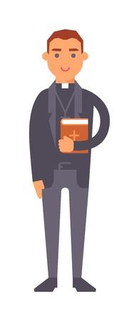 sotana: hombre joven sacerdote reflexivo con el signo de la biblia y de la paz. Orar necesidad silencio aislado sobre fondo blanco joven vectorial hombre católico. hombre espiritual iglesia contemplación sacerdote santo símbolo de la biblia. Vectores