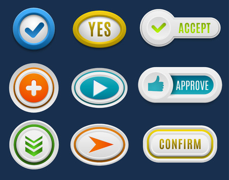 interface buttons: Set of interface buttons ok, cancel, yes, no. Vector internet web buttons set. Website accept web ui ux buttons iconsconcept. Web elements Illustration
