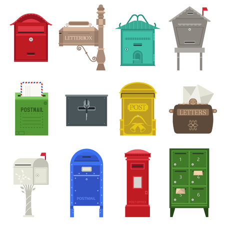 Beautiful rural curbside open and closed mailboxes with semaphore flag vector illustration. Traditional communication empty postage post mail box. Letter message post mail box service correspondence. Ilustração Vetorial
