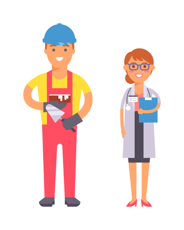 qualification: People professions qualification, employment and success concept. Happy different people professions over group of professional workers. People professions occupation job man worker. Illustration