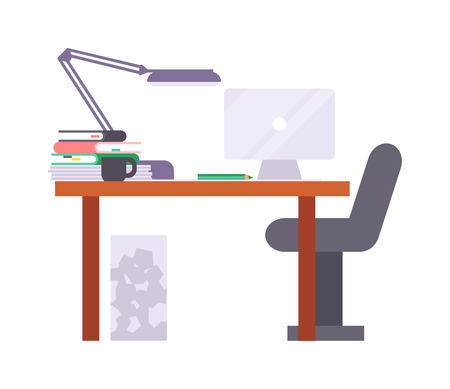 work place: Interior of working place concept in flat design. Work place vector and modern office table interior. Creative work place design. Office occupation professional. Illustration