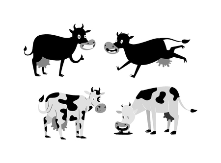 Milk Cow Bull With Calf Bull Buffalo. Different Cows Colors Dairy ...
