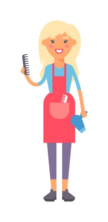 homemaker: Housewife girl homemaker cleaning pretty woman wash. Housewife girl and home cleaning equipment icon in flat style vector illustration.