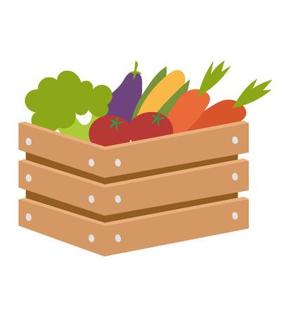 Houten krat verse groenten en fruit op een witte achtergrond. Natuurlijke krat vegetarisch dieet tomaat doos. landbouw plantaardige vak groep versheid biologisch ingrediënt.