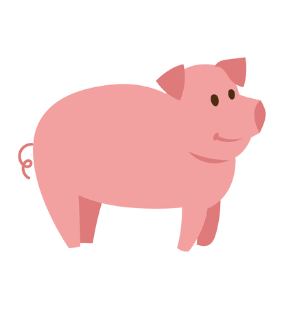 pigsty: Cute cheerful pig funny farm character vector. Domestic isolated mammal, agriculture cute pink pig and piggy snout, small icon funny young cartoon animal. Rural silhouette farm animal cartoon cute pig.