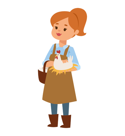 domestic animal: Young beautiful girl is showing chicken yellow female farm fluffy small hen. Woman and little chicken domestic animal. Cute farmer woman and adorable life newborn little chicken vector.