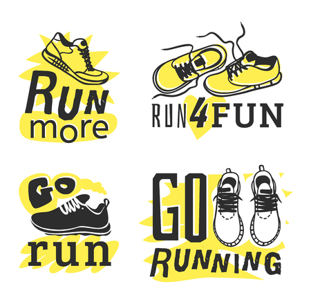 run faster: Sport fitness typographic poster run sport motivation logo badge. Run sport motivation text lettering. Motivational and inspirational illustration lettering logo design, banner, poster, bodybuilding or fitness club.