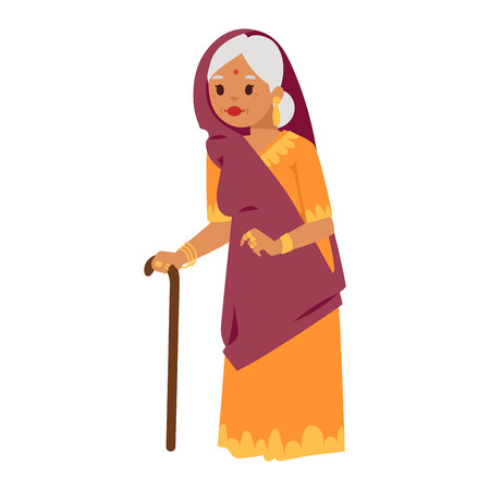 Vector illustration of Indian culture grandma old woman standing figure. Indian old woman happy person. Ethnicity cheerful casual Indian people, traditional bollywood character. Ilustração Vetorial