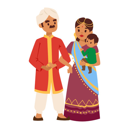 indian family: Vector illustration of Indian culture family people standing together figure. Indian people happy together person. Ethnicity cheerful casual Indian family people, traditional character. Illustration