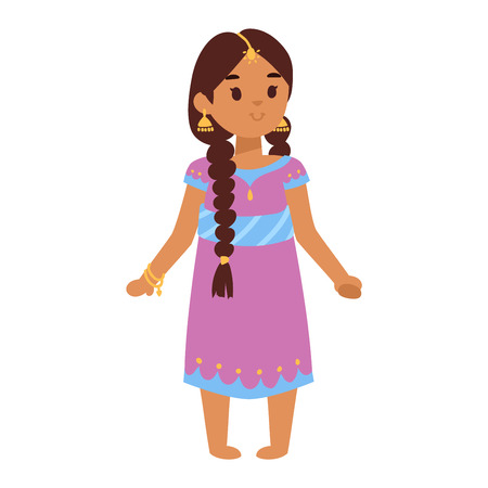 Vector illustration of Indian culture woman standing figure. Indian female happy person. Ethnicity cheerful casual Indian people, traditional young woman, girl character Illustration