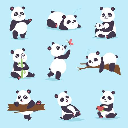 rare: Panda cartoon character in various expression. Animal white cute china black panda bear giant mammal fat wilderness rare. Lying woods panda bear eating bamboo china wild animals vector character.