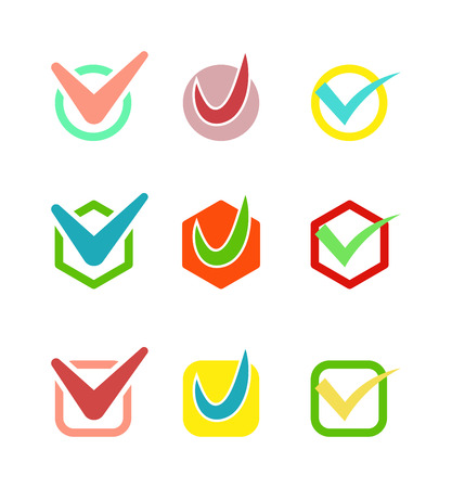right choice: Check box icon button isolated. Check vote icon mark sign choice yes symbol. Correct design check icon mark right agreement voting form. Button question choose success graphic. Illustration