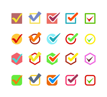 Check box icon button isolated. Check vote icon mark sign choice yes symbol. Correct design check icon mark right agreement voting form. Button question choose success graphic. Illustration