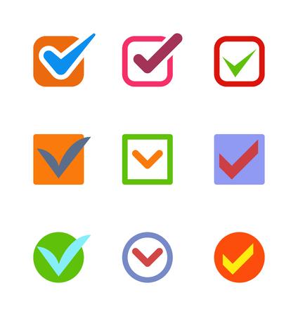 check icon: Check box icon button isolated. Check vote icon mark sign choice yes symbol. Correct design check icon mark right agreement voting form. Button question choose success graphic. Illustration
