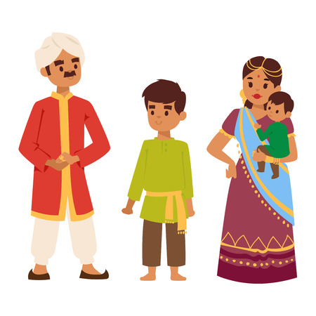 indian family: illustration of Indian culture family people standing together figure. Indian people happy together person. Ethnicity cheerful casual Indian family people, traditional character.