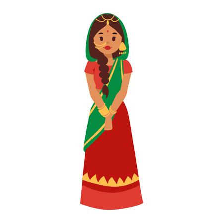 インドの文化の女性の立ち姿のフィギュアのイラスト インドの女性の幸せな人 民族陽気なカジュアルなインド人 伝統的な若い女性 女の子キャラのイラスト素材 ベクタ Image