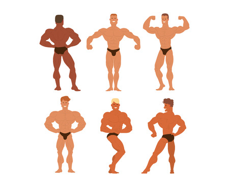 shirtless: Set of muscular, bearded mans bodybuilders illustration. Fitness models bodybuilders, posing, bodybuilding style man. Isolated mens physics muscle sport healthy bodybuilders.