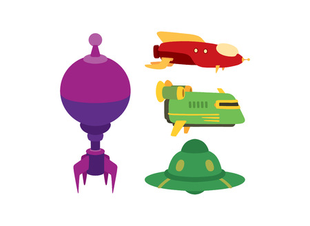 space antenna: Big collection of UFO crafts and space stations silhouette . Unidentified antenna planet travel universe UFO spaceship. Flying technology science UFO spaceship mystery rocket, cartoon design.