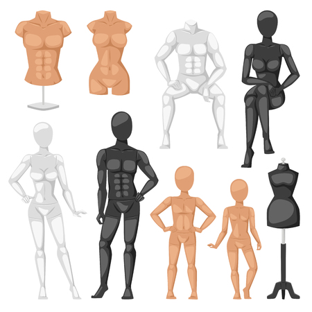 unclothed: isolated dummy mannequin model. Different poses colors dummy mannequin model male and female icons. Beautiful attractive sculpture plastic dummy mannequin model figure silhouette, female head.