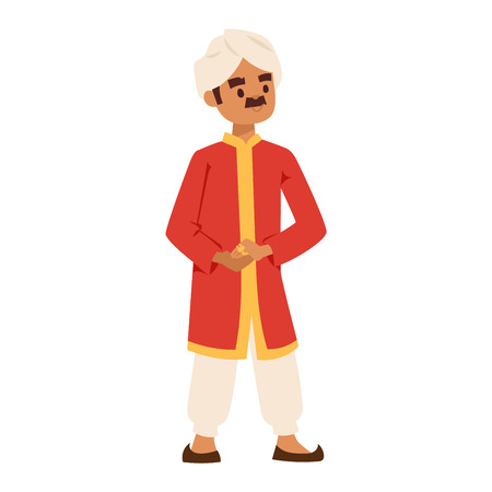 standing figure: Vector illustration of Indian culture man people standing figure. Indian male people happy person. Ethnicity cheerful casual Indian people, traditional man and boy characters