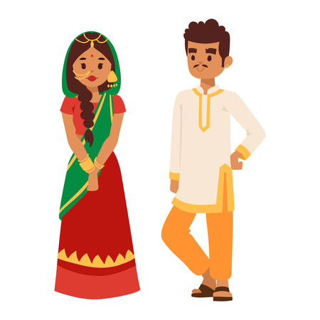ethnicity happy: Vector illustration of Indian couple boy and girl standing figure. Indian people couple happy person. Ethnicity cheerful casual Indian people, traditional boy and girl character.